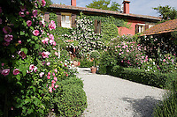View up the path to the house in the beautiful Ca' delle Rose garden with roses in full bloom