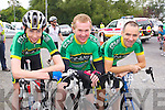 Jack Joy, Tom Regan, Joe Enright, all from Finuge, who took part in the Ring of North Kerry cycle on Saturday..
