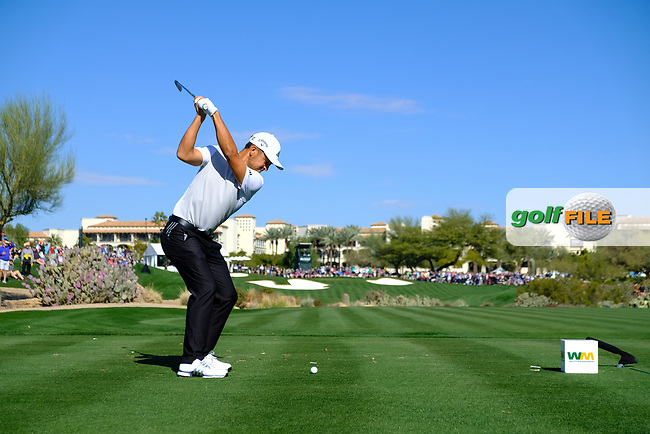Xander Schauffele (USA) on the 4th tee during the 2nd round of the Waste Management Phoenix Open, TPC Scottsdale, Scottsdale, Arisona, USA. 01/02/2019.<br /> Picture Fran Caffrey / Golffile.ie<br /> <br /> All photo usage must carry mandatory copyright credit (&copy; Golffile | Fran Caffrey)