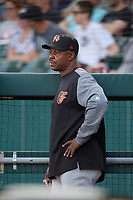 Norfolk Tides coach Butch Davis during an International League game against the Buffalo Bisons on June 22, 2019 at Sahlen Field in Buffalo, New York.  Buffalo defeated Norfolk 3-0.  (Mike Janes/Four Seam Images)