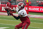 Gabe Marks, Washington State University wide receiver, warms up prior to the Cougars first road test of the season against Big Ten foe Rutgers at High Point Solutions Stadium in Piscataway, New Jersey, on September 12, 2015.  WSU came back from a late deficit to go on a 90 yard touchdown drive to score the winning TD with 13 seconds left to get the win, 37-34.