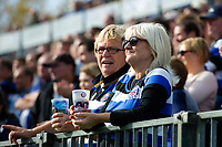Bath Rugby supporters in the crowd look on at half-time. Heineken Champions Cup match, between Bath Rugby and Stade Toulousain on October 13, 2018 at the Recreation Ground in Bath, England. Photo by: Patrick Khachfe / Onside Images