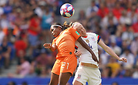 DECINES-CHARPIEU, FRANCE - JULY 07: Lineth Beerensteyn #21, Becky Sauerbrunn #4 during the 2019 FIFA Women's World Cup France Final match between Netherlands and the United States at Groupama Stadium on July 07, 2019 in Decines-Charpieu, France.