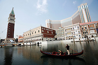 A Gondola outside the Venetian Macau Resort Hotel, opened on 28th August 2007 in Macau, China. The integrated resort contains the Worlds' largest casino, with over 800 gaming tables and some 4000 slot machines..