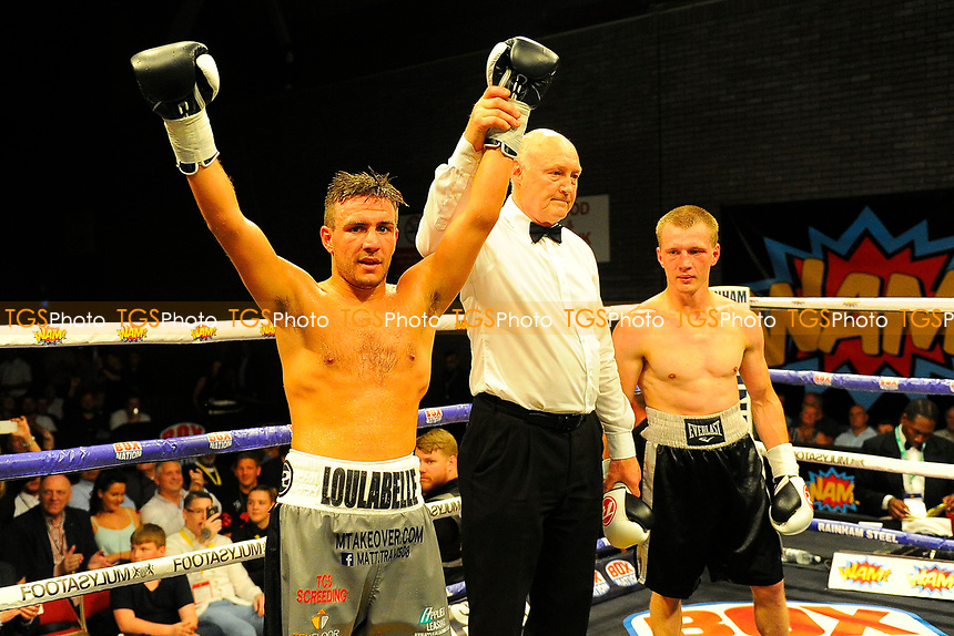 Lewis Pettitt (grey shorts) defeats Simas Volosinas during a Boxing Show at the Brentwood Centre on 2nd June 2017