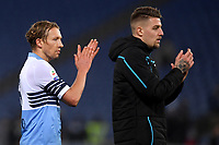 Lucas Leiva and Sergej Milinkovic-Savic of Lazio greet supporters at the end of the Serie A 2018/2019 football match between Lazio and Empoli at stadio Olimpico, Roma, February 7, 2019 <br />  Foto Andrea Staccioli / Insidefoto