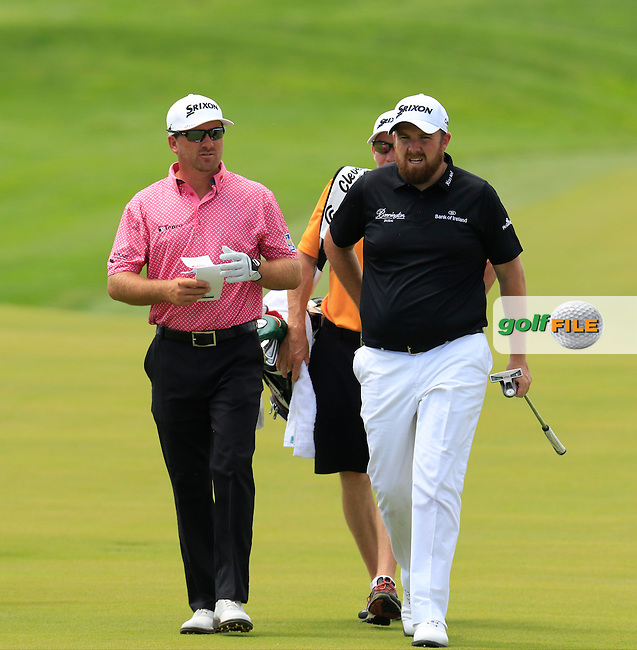 Graeme McDowell (NIR) and Shane Lowry (IRL) play on the 10th hole during Wednesday's Practice Day of the 2016 U.S. Open Championship held at Oakmont Country Club, Oakmont, Pittsburgh, Pennsylvania, United States of America. 15th June 2016.<br /> Picture: Eoin Clarke | Golffile<br /> <br /> <br /> All photos usage must carry mandatory copyright credit (&copy; Golffile | Eoin Clarke)