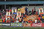 18 April 2015: Carolina supporters hold up banners and flags honoring their players and team and mocking the opposing team. The Carolina RailHawks hosted the Atlanta Silverbacks at WakeMed Stadium in Cary, North Carolina in a North American Soccer League 2015 Spring Season match. Atlanta won the game 2-1.