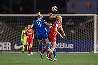 Boston, MA - Sunday September 10, 2017: Megan Oyster and Allie Long during a regular season National Women's Soccer League (NWSL) match between the Boston Breakers and Portland Thorns FC at Jordan Field.