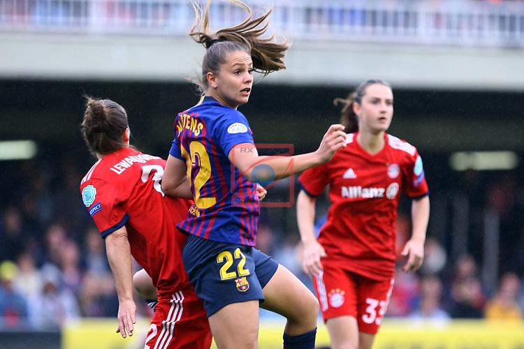 UEFA Women's Champions League 2018/2019.<br /> Semi Finals<br /> FC Barcelona vs FC Bayern Munchen: 1-0.<br /> Gina Lewandowski vs Lieke Martens.