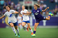 Orlando, FL - Sunday July 10, 2016: Elise Krieghoff, Camille Levin during a regular season National Women's Soccer League (NWSL) match between the Orlando Pride and the Boston Breakers at Camping World Stadium.