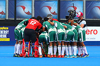 Pakistan players before the start of the match during the Hockey World League Quarter-Final match between Argentina and Pakistan at the Olympic Park, London, England on 22 June 2017. Photo by Steve McCarthy.
