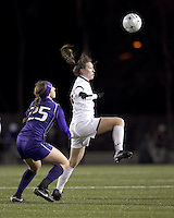 "Boston College forward Brooke Knowlton (16) attempts to control the ball as University of Washington defender Molly Boyd (25) defends. In overtime, Boston College defeated University of Washington, 1-0, in NCAA tournament ""Elite 8"" match at Newton Soccer Field, Newton, MA, on November 27, 2010."