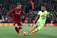 Liverpool's Xherdan Shaqiri under pressure from Barcelona's Arturo Vidal<br /> <br /> Photographer Rich Linley/CameraSport<br /> <br /> UEFA Champions League Semi-Final 2nd Leg - Liverpool v Barcelona - Tuesday May 7th 2019 - Anfield - Liverpool<br />  <br /> World Copyright © 2018 CameraSport. All rights reserved. 43 Linden Ave. Countesthorpe. Leicester. England. LE8 5PG - Tel: +44 (0) 116 277 4147 - admin@camerasport.com - www.camerasport.com