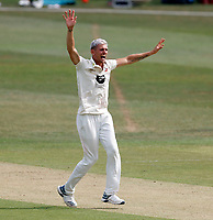 Harry Podmore of Kent celebrates after taking the wicket of Delay Rawlins during Kent CCC vs Sussex CCC, Bob Willis Trophy Cricket at The Spitfire Ground on 8th August 2020