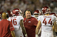 Hawgs Illustrated/BEN GOFF <br /> Bret Bielema, Arkansas head coach, coaches the kickoff return team in the second quarter against Alabama Saturday, Oct. 14, 2017, at Bryant-Denny Stadium in Tuscaloosa, Ala.