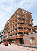 Nederland Amsterdam 2018. North Orleans appartementen in Amsterdam Noord. Architect Bjarne Mastenbroek. Huurstudio's. Foto Berlinda van Dam / Hollandse Hoogte