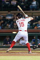 Scottsdale Scorpions right fielder Luke Williams (15), of the Philadelphia Phillies organization, at bat during an Arizona Fall League game against the Surprise Saguaros at Scottsdale Stadium on October 15, 2018 in Scottsdale, Arizona. Surprise defeated Scottsdale 2-0. (Zachary Lucy/Four Seam Images)