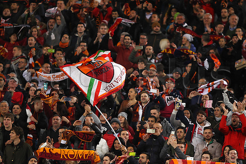 17.02.2016. Stadio Olimpico, Rome, Italy. UEFA Champions League, Round of 16 - first leg, AS Roma versus Real Madrid. FANS OF AS ROMA with banners and scarves