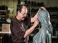 Sculptor Ed Dwight in his studio in Denver, Colorado, Thursday, October 5, 2017. Dwight, who began his career as the first African American to become a test pilot for NASA, started sculpting at the age of 45 and has worked to memorialize African American life in the American West.<br /> <br /> Photo by Matt Nager