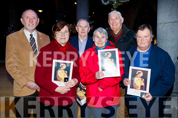 Billy Ryle, Ina Healy, Colm Keane, Mary O'Shea, Brendan Harnett and Mary Walsh, who were presented with 50 years golden pioneer pens at St. John's Church, Tralee, on Saturday night last.