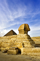The Great Sphinx of Giza, a half lion half human statue, on the Giza Plateau on the west bank of the Nile River, near modern day Cairo, Egypt<br /> It is one of the largest single-stone statues known today, and believed to have been built in the 3rd millennium BC.
