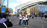 Tottenham fans pose for photos outside the stadium ahead of the Premier League match at the Tottenham Hotspur Stadium, London. Picture date: 30th November 2019. Picture credit should read: Paul Terry/Sportimage