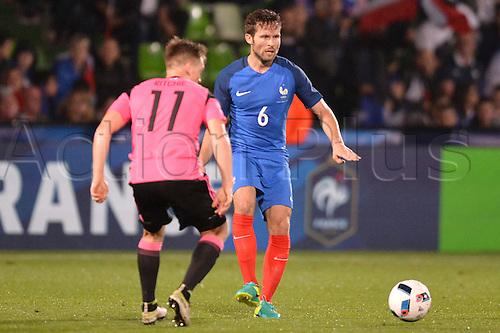 04.06.2016. Stade Saint Symphorien, Metz, France. International football freindly,France versus Scotland.  YOHAN CABAYE passes the ball past Richie