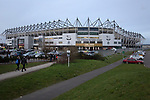 An exterior view of the ground before Derby County played Stoke City in an EFL Championship match at Pride Park Stadium. Opened in 1997, it is the 16th-largest football ground in England and the 20th-largest stadium in the United Kingdom. The fixture ended in a 0-0 draw watched by a crowd of 25,685.