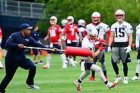 June 7, 2017: New England Patriots wide receiver Julian Edelman (11) works with a member of the coaching staff on a drill at the New England Patriots mini camp held on the practice field at Gillette Stadium, in Foxborough, Massachusetts. Eric Canha/CSM