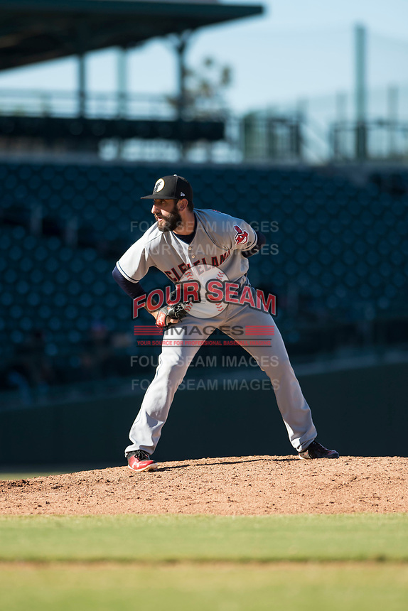 Glendale Desert Dogs relief pitcher Rob Kaminsky (28), of the Cleveland Indians organization, looks in for the sign during an Arizona Fall League game against the Mesa Solar Sox at Sloan Park on October 27, 2018 in Mesa, Arizona. Glendale defeated Mesa 7-6. (Zachary Lucy/Four Seam Images)