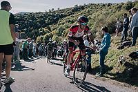 Alessandro De Marchi (ITA/BMC) up the infamous Muro di Sormano (avg 17%/max 25%)<br /> <br /> Il Lombardia 2017<br /> Bergamo to Como (ITA) 247km