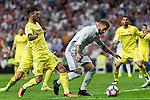 Villarreal's Mario Gaspar and Real Madrid's Sergio Ramos during the match of La Liga between Real Madrid  and Villarreal Club de Futbol at Santiago Bernabeu Estadium in Madrid. September 21, 2016. (ALTERPHOTOS/Rodrigo Jimenez)