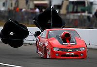 Aug. 3, 2013; Kent, WA, USA: NHRA pro stock driver Rickie Jones during qualifying for the Northwest Nationals at Pacific Raceways. Mandatory Credit: Mark J. Rebilas-USA TODAY Sports