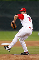 Auburn Doubledays pitcher Taylor Hill #38 during game two of the semi-final round of the NY-Penn League Playoff series against the Vermont Lake Monstes at Falcon Park on September 8, 2011 in Auburn, New York.  Auburn defeated Vermont 3-2.  (Mike Janes/Four Seam Images)