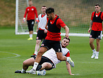 Jack O'Connell of Sheffield Utd tackles George Baldock during the training session at the Shirecliffe Training complex, Sheffield. Picture date: June 27th 2017. Pic credit should read: Simon Bellis/Sportimage