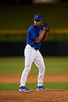 AZL Cubs 1 relief pitcher Luis Silva (20) during an Arizona League game against the AZL Giants Orange on July 10, 2019 at Sloan Park in Mesa, Arizona. The AZL Giants Orange defeated the AZL Cubs 1 13-8. (Zachary Lucy/Four Seam Images)