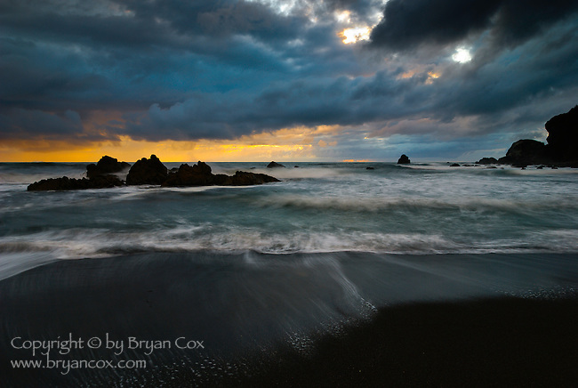 Sunset on a beach south of Crescent City, California