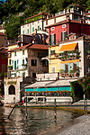 Sunshine on the colorful houses of Varenna, Italy on Lake Como