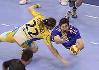 15.01.2013 Granollers, Spain. IHF men's world championship, prelimanary round. Picture show Nikola Karabatic   in action during game between France v Brazil at Palau d'esports de Granollers