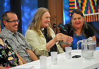 NWA Democrat-Gazette/MICHAEL WOODS --05/16/2015--w@NWAMICHAELW...  Members of the LGBT community (left to right) Raymond M. Sweet, Rev. Gwen Fry, Episcopal priest, and Stephanie Mott, founder and executive director of Kansas Statewide Transgender Education Project, answer questions during a discussion panel Saturday evening hosted by the Unitarian-Universalists in Fayetteville as they share their faith stories with the public.