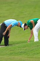 Sergio Gaecia (ESP) & Kevin Na (USA) on the 12th during Round 3 of the CIMB Classic in the Kuala Lumpur Golf & Country Club on Saturday 1st November 2014.<br /> Picture:  Thos Caffrey / www.golffile.ie