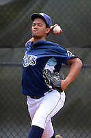 GCL Rays pitcher Yael Regalado (30) warms up in the bullpen during a game against the GCL Orioles on July 20, 2013 at Charlotte Sports Complex in Port Charlotte, Florida.  GCL Orioles defeated the GCL Rays 4-1.  (Mike Janes/Four Seam Images)
