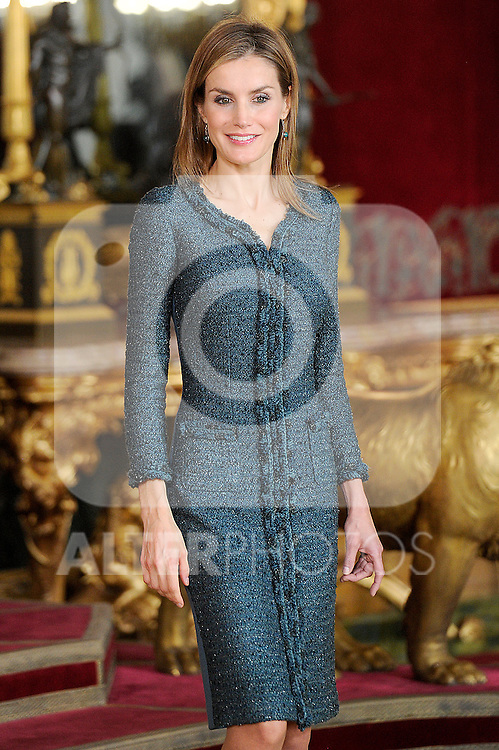 Queen Letizia of Spain during Spain's National Day Royal Reception at Royal Palace on October 12, 2014 in Madrid, Spain. October 12 ,2014. (ALTERPHOTOS/Pool)