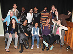 Front Row: Alice Ripley, De'adre Aziza, Sumaya Bouhbal, Karen Kandel, Rachel Spencer Hewitt  Back Row: playwright Paula Vogel, Bob Stillman, K. Todd Freeman, Chris Henry, Jonathan-David,Antwayn Hopper, Sean Allan Krill and director Tina Landau attending the Meet & Greet for the New York Theatre Workshop production of 'A Civil War Christmas' at their rehearsal studios on October 16, 2012 in New York City.