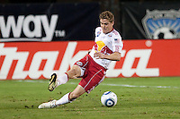 Chris Albright slides to kick the ball. The New York Red Bulls defeated the San Jose Earthquakes 1-0 at Buck Shaw Stadium in Santa Clara, California on October 30th, 2010.
