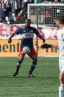 FOXBOROUGH, MA - MARCH 7: Andrew Farrell #2 of New England Revolution during a game between Chicago Fire and New England Revolution at Gillette Stadium on March 7, 2020 in Foxborough, Massachusetts.