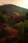 Beautiful autumn scenery of Kiyomizu-dera temple Koyasu pagoda, dedicated to Koyasu Kannon, a goddess of childbirth. Higashiyama, Kyoto, Japan 2017.
