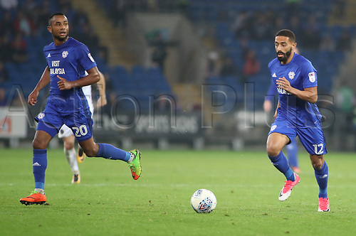 26th September 2017, Cardiff City Stadium, Cardiff, Wales; EFL Championship football, Cardiff City versus Leeds United; Liam Feeney of Cardiff City on the attack with Loic Damour of Cardiff City in support