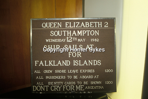 Falklands War. QE2 notice board Southampton Dock Wednesday 12 May 1982. Queen Elizabeth 11 sails for the Falklands.